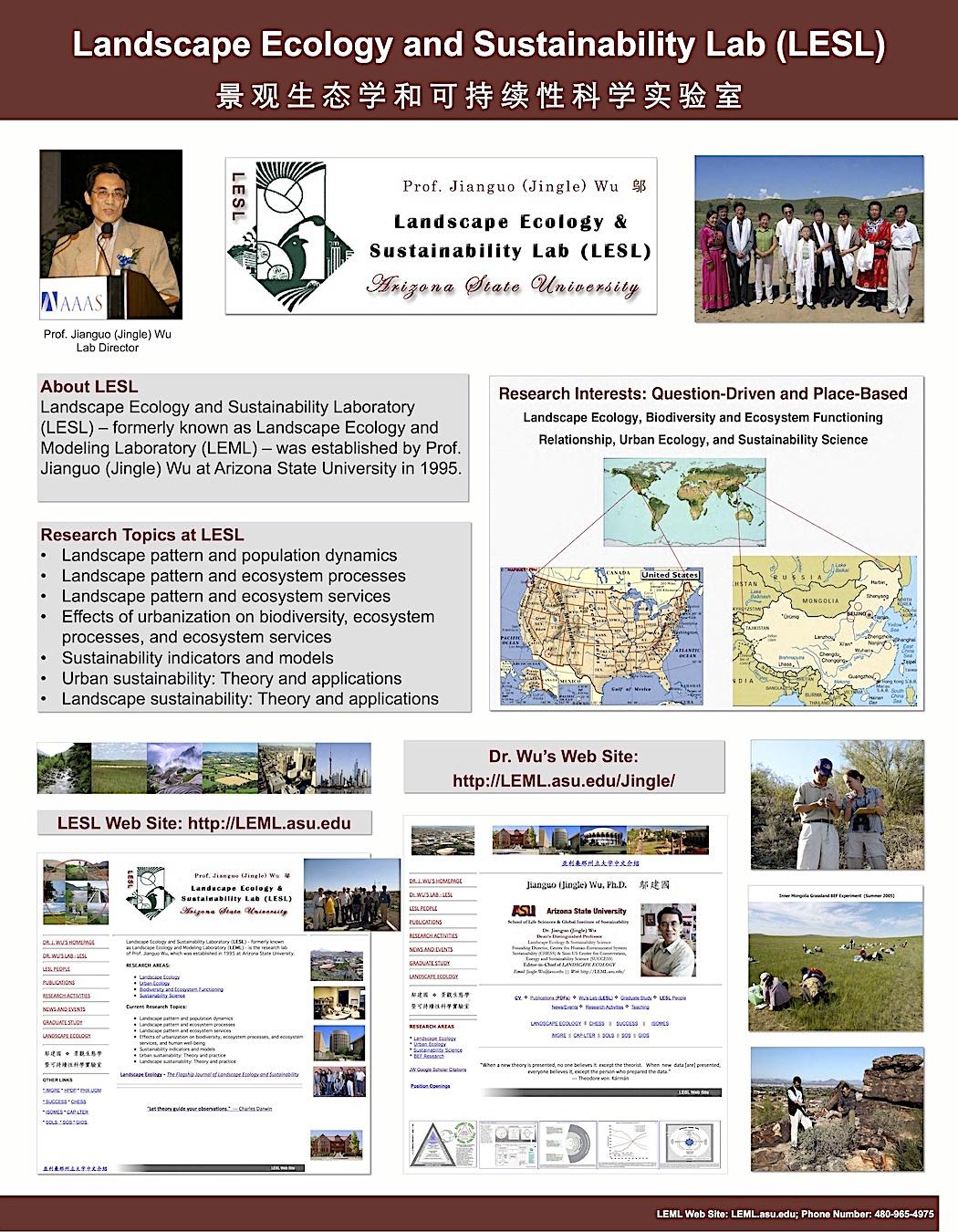 Wu's Landscape Ecology and Sustainability Lab (LESL)